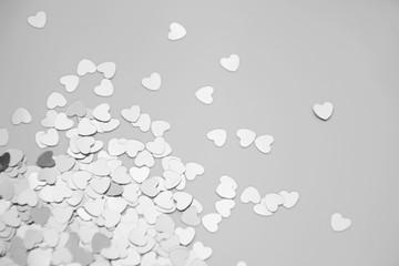 Hearts sparkles valentines day grey background black white 4