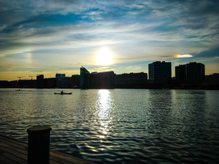 Sunset with a Rainbow Sky reflection in the Copenhagen harbour - Islands  Brygge, Amager