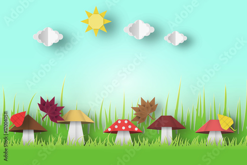 Foto op Plexiglas Lichtblauw Autumn Origami Landscape.
