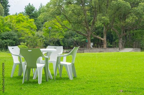 芝生の上のテーブルセット Poster