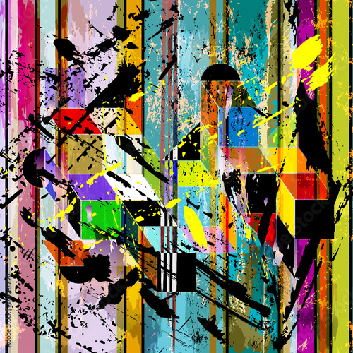 Aluminium Abstract met Penseelstreken abstract geometric background composition, with squares, stripes, paint strokes and splashes