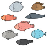 vector set of fish