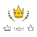 Set, collection of doodle crowns isolated on white background. - 170053157
