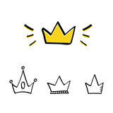 Set, collection of doodle crowns isolated on white background. - 170053172