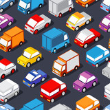 Seamless pattern of cars and trucks city transport industry