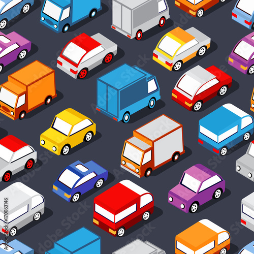 Fotobehang Auto Seamless pattern of cars and trucks city transport industry