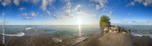 Panoramic view of Point Pelee National Park beach in the summer at sunset time,