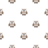 Vector seamless pattern with little cute owls