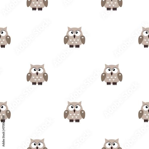 Fotobehang Uilen cartoon Vector seamless pattern with little cute owls