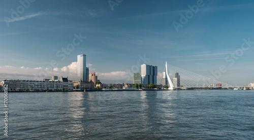 Foto op Plexiglas Rotterdam Rotterdam city cityscape skyline with Erasmus bridge and river. South Holland, Netherlands.
