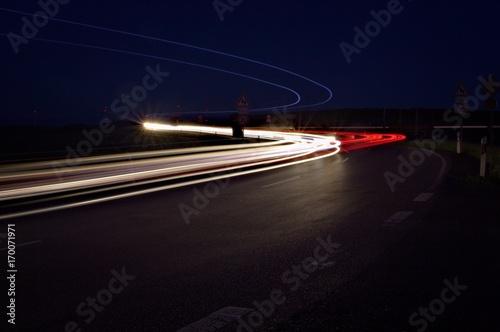 Fotobehang Nacht snelweg Lichtspiel
