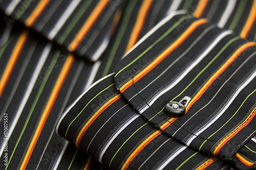 Black White Green Yellow and Orange Pinstripe Pocket shirt Poster