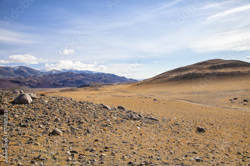 Aluminium Blauwe hemel Scenery near Ulgii, Mongolia