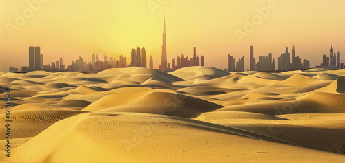 Deurstickers Dubai Dubai skyline in desert at sunset.