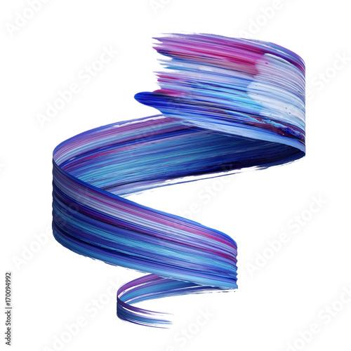 3d render, abstract brush stroke, paint splash, splatter, colorful curl, artistic spiral, vivid ribbon