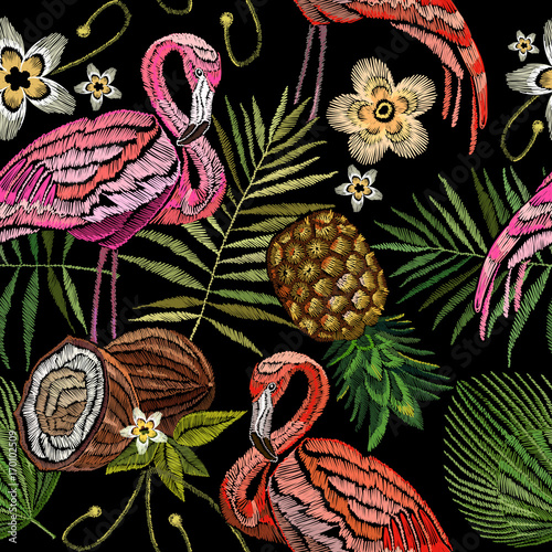 Embroidery flamingo , palm tree leaves, pineapple, coconut tropical seamless pattern. Fashionable embroidery pink flamingos, tropical summer background.  Fashionable template for design of clothes - 170102509