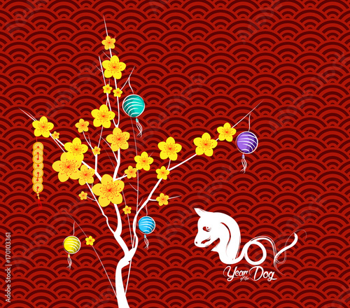 Happy Chinese New Year Flower Lanterns background. Year of the dog