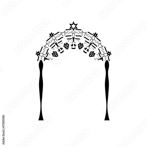 Vintage Graphic Chuppah. Arch for a religious Jewish Jewish wedding. canopy. Vector illustration on isolated background.