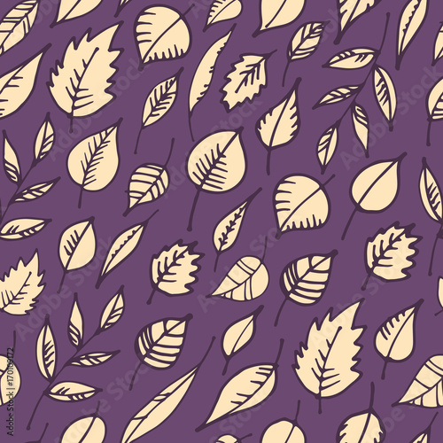 Seamless pattern with hand drawn leaves. Leaf background. Vector