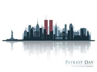 Patriot day. New York view before september 11 2001.