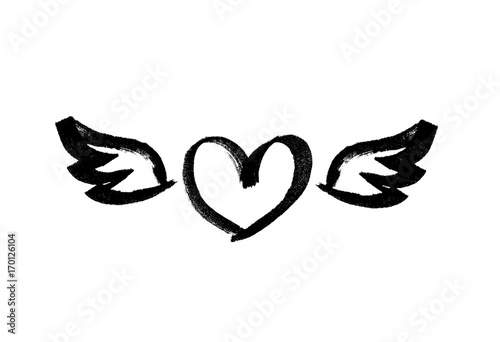 Heart with wings. Love symbol. Ink hand drawn lettering. Grunge vector calligraphy. Tattoo template