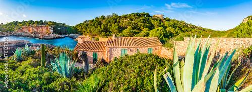 Fotobehang Beautiful sea bay panorama view of the island landscape at Cala S'Almunia on Majorca, Spain