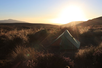 Camping in a wild sunset