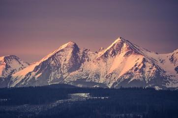 Morning panorama of snowy Tatra Mountains, Poland