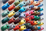 Fototapety Bobbins with colored thread for industrial textile