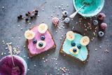 Gesunder, kindgerechter Pausensnack/ Frühstück -  Brote mit Bärengesichtern - 170137167