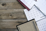 close up of calendars on the table for planner,business,organization,management schedule, calender concept.
