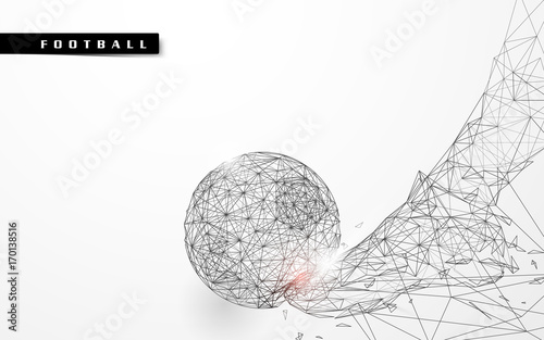 Fototapeta Abstract low polygon football kicking the ball wireframe mesh background