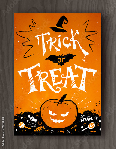 Trick or Treat Halloween postcard design