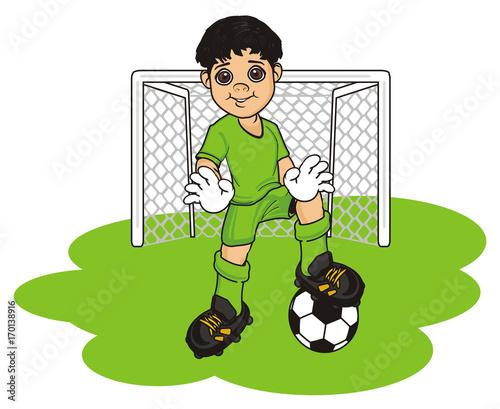 football, soccer, boy, child, cartoon, illustration, sport, game, uniform, t-shirt, shorts, boots, ball, gloves, goalkeeper, gate, grass,