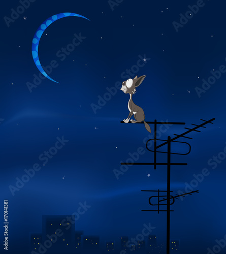Foto op Canvas Babykamer The Feral Cat and the Moon Cartoon Illustration