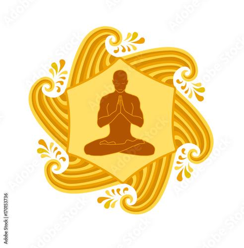 Obraz na płótnie yoga meditation in gold waves of sun