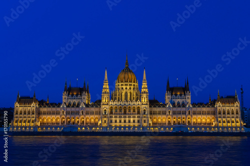 Night view of the illuminated building of the Hungarian Parliament in Budapest Poster
