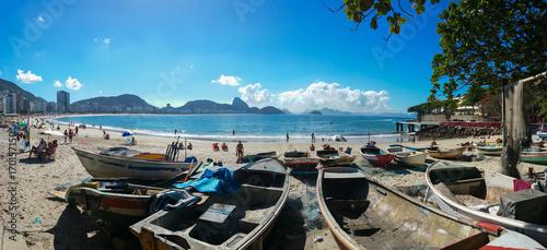 Rio de Janeiro, Brazil - June 25, 2017- Panoramic view of Copacabana beach in summer day in Rio de Janeiro Brazil