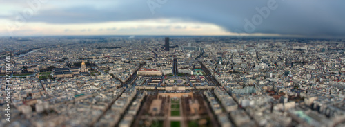 Panorama of Paris after the storm with tilt-shift effect - 170161783
