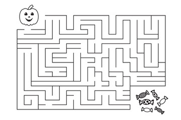 Labyrinth for children. Halloween pumpkin and candies.Entry and exit. Coloring page. Vector illustration. Isolated on white background.