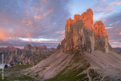 Fotobehang Cappuccino Sunrise over Tre Cime