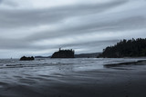 Coastal rock island silhouettes on a stormy evening