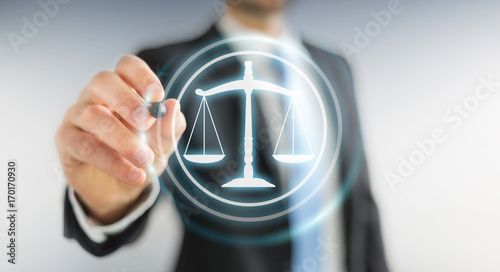Businessman using law protection right 3D rendering