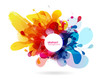 Abstract colored flower background with circles and brush strokes. - 170176342