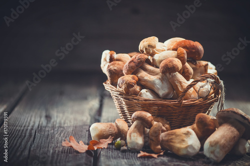 Ceps mushroom. Boletus closeup on wooden rustic table - 170179391