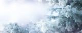 Fototapety Winter tree holiday snow background. Beautiful Christmas border art design
