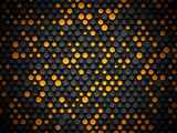 Abstract industrial realistic embossing volume cylinder texture, depressed circles black background, 3d geometric pattern. Round orange dot cyber backdrop. Digital futuristic techno vector wallpaper
