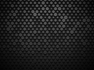 Abstract industrial realistic embossing volume polish metal cylinder texture, depressed circles background, 3d geometric pattern. Round dot cyber backdrop. Digital futuristic techno vector wallpaper