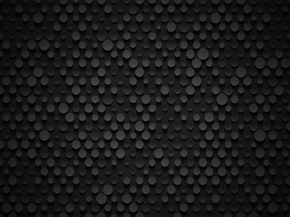Abstract industrial realistic embossing volume cylinder texture, depressed circles black background, 3d geometric pattern. Round dot cyber backdrop. Digital futuristic techno vector wallpaper