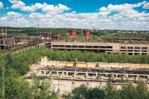 Fotobehang Oude verlaten gebouwen Panoramic aerial view from above to Soviet abandoned factory in Efremov, Russia